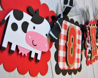 Farm - Barnyard Birthday Party High Chair Mini Banner - Red and Black - Farm Party Decorations - First Birthday - High Chair Garland