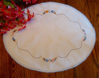 Linen Embroidered Doily White Oval Floral Doily with Blue Crochet Trim Centerpiece Doilies