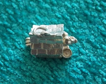 Vintage Silver Dog Kennel  Charm  OPENS