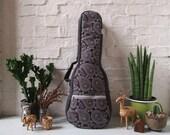 Concert ukulele case - Navy Blue Paisley (Ready to ship)