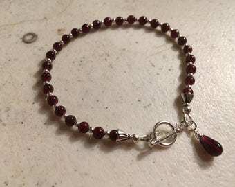 Red Garnet Bracelet - January Birthstone - Sterling Silver Jewelry - Gemstone Jewellery Skinny Layer Chain Crimson Dainty Simple