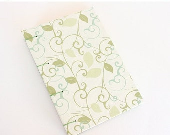 ON SALE Handmade Journal - Green Leaves