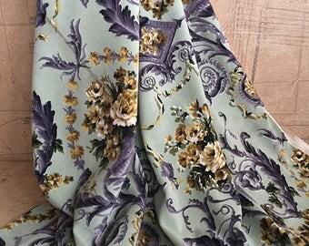 Vintage Home Interiors Toile de Jouy Inspired Fabric. Length 2m Velvet Fabric in Duck Egg Blue