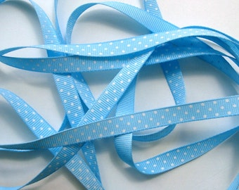 "3/8"" Grosgrain Ribbon Swiss Dots - Light Blue with White Dots - 5 yards"