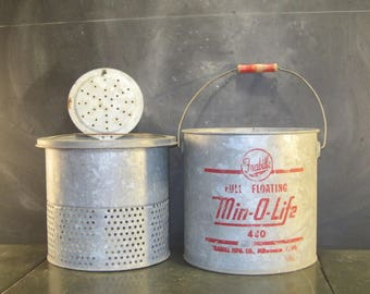 Vintage Galvanized Frabill's Min-O-Life Galvanized Minnow Bait Bucket