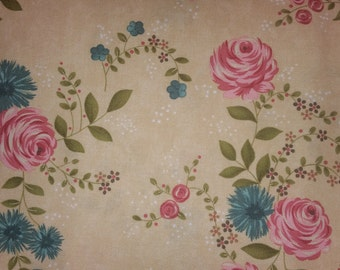 Rambling Rose  by Sands Gervais for moda pink and turquoise flowers on cream main print
