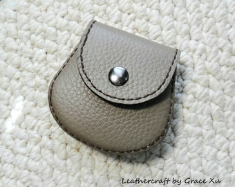 100% hand stitched handmade dark beige cowhide leather Ipod, ear buds, coin, trinket, jewelry,case / pouch
