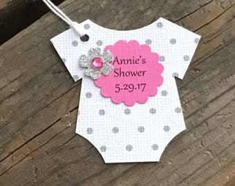 Set of 12 Personalized Gray - Silver Polka Dot Bodysuit Tags With Bright Pink Scallop Glitter Silver Flower  - Baby Shower - Favor Gift Tags
