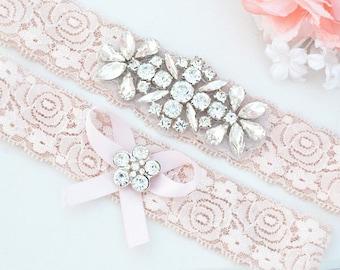 BLUSH PINK Crystal pearl Wedding Garter Set, Stretch Lace Garter, Rhinestone Crystal Bridal Garters