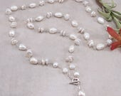 """White Freshwater Pearl Sterling Silver Long Wrap Necklace, 36"""""""