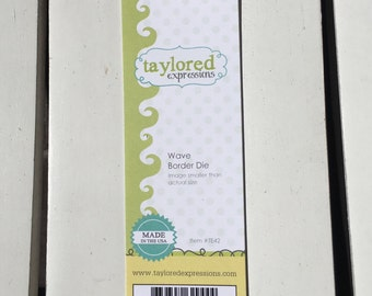 Taylored Expressions Wave Border Die, #TE42, gently used,  for card making, scrapbooking, stamping, art journaling, planning