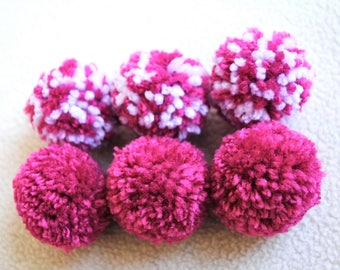 Catnip Pom Pom Cat Toys - Set of Six (Pink and White) - READY TO SHIP