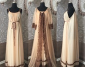Vintage Late 1950's early 1960's Tan and Brown Nightgown and Robe Set Large