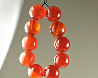 Luscious Translucent Natural Carnelian Round Bead - 12mm - 10 beads - B6445