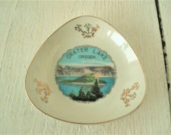 Vintage souvenir ashtray  Crater Lake Oregon porcelain Effcco made in Japan