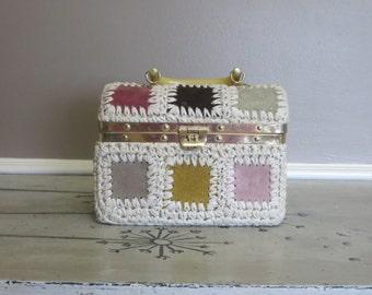 Vintage 1960s Rosenfeld Box Purse Rosenfeld Hand Bag Rosenfeld Purse Rosenfeld Suede Patchwork Purse Ladies Purse Cosmetics Purse