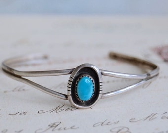 Vintage Native American Turquoise and Sterling Cuff Bracelet