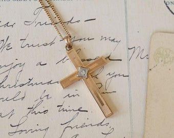 Vintage 10K Gold Cross Necklace