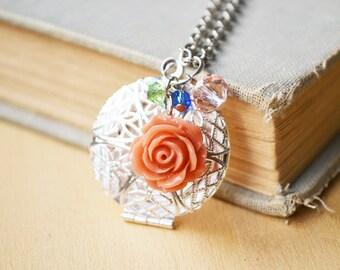 Blush Rose Locket Silver Photo Necklace