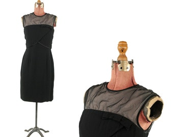 Vintage 1960's Elegant Miss Sheer Black Chiffon + Crepe Illusion Bow Tie Cocktail Party Dress M
