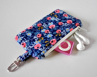 Woman's floral flower key chain coin pouch padded gadget change purse in English rose pink, navy blue print.