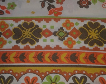 Kitschy vintage orange, brown, green, floral pillowcase, 60's 70's, harvest or feedsack appeal, little girls dress, quilt, fat quarters used