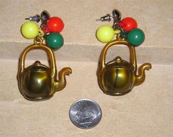 Vintage Novelty Plastic Tea Pot Pierced Earrings 1960's Jewelry 3090
