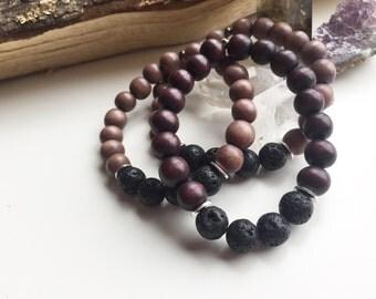 Handmade Black Lava + Wood Mens Bracelet