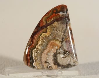 Mexican Crazy Lace Agate Cabochon. Handcrafted USA. Natural Gemstone.