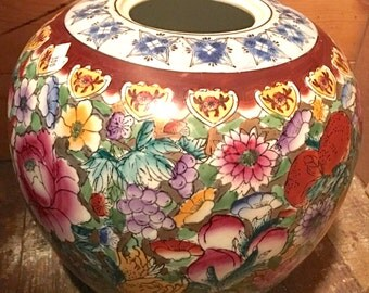 Asian colorful ginger jar pottery pot