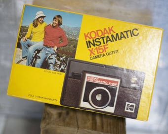 Vintage Camera 126 Film Kodak Instamatic X 15F with BOX // Made in USA