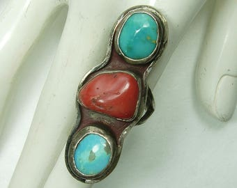 Very Big 1970s Navajo Ring Turquoise Red Coral Silver Statement Ring Native American Southwestern