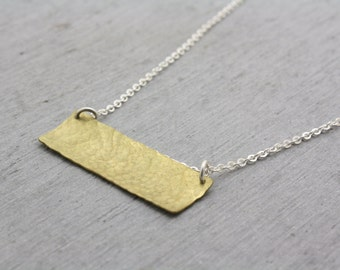 Brass Bar Necklace, Large Long Brass Necklace, Brass Rectangle Necklace, Brass Jewellery, Geometric Necklace, Long Necklace : BbaNxHDcv