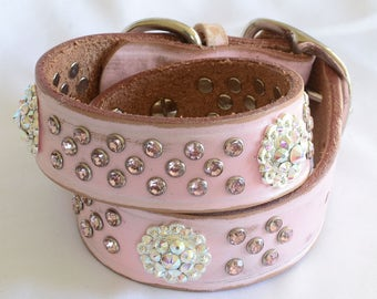 """Pink Leather Dog Collar, Silver Conchos, Pink Crystals, Dog Collar Pink Leather, Full Grain Pink Leather Dog Collar, size 20 to 22"""""""