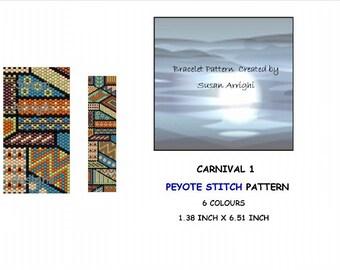 Peyote Stitch Beading Bracelet Pattern -  Carnival 1