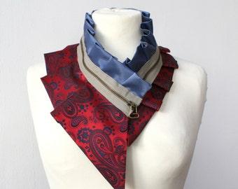 Women's accessories, silk collar necklace, silk scarf necklace, silk collar, women's collar, bib necklace, burning man clothing #210