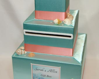 Aqua and Coral BEACH themed Card Box