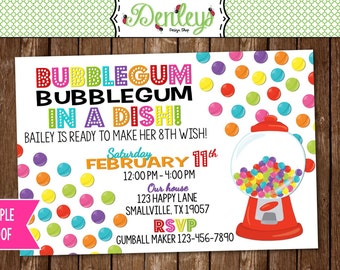 Gumball Machine Party Invitation (GU03)