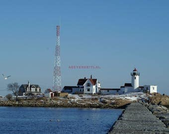 Eastern Point Light House  Gloucester on Cape Ann 5x7 Photo greeting card blank inside