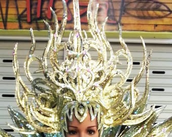 Forest Warrior Crystal Dance Vegas Showgirl Pageant Headdress