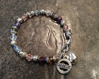 Diabetes Medical Alert Bracelet in Child or Adult size with sparkly Multi color Czech glass beads and Diabetic charm Diabetes Bracelet