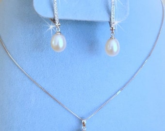SALE Genuine Pearl Wedding Earrings and Necklace,  Freshwater Pearl Wedding Jewelry, Real Pearl Bridal Set,  White Pearl