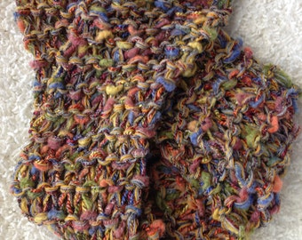 Lovely Multicolor Knit Scarf, Wool and Ribbon Yarns. One of a Kind, Great holiday Gift!