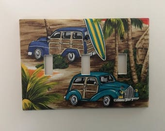 Woody Surf Wagons With Surfboard Triple Light Switch Plate