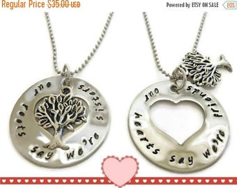 SPRING SALE Matching Sister necklaces, necklace SET for sisters, sister jewelry, our roots say we're sisters our hearts say we're friends