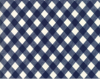 Navy Blue and White Gingham Fabric - Basics by Bonnie and Camille from Moda - 1 Yard