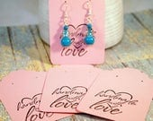 Pink Earring Cards, Card Stock Paper Earring Cards, 20 Earring Cards, Supplies, Seller Supplies, CKDesigns.US