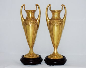 Jennings Brothers Gold Metal Vases with Display Stands