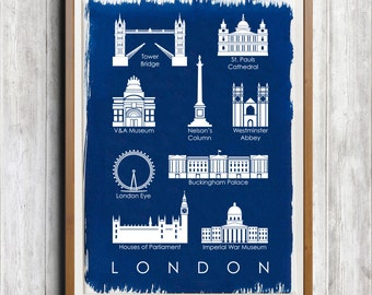 London Buildings A4 Hand coated traditionally made cyanotype blueprint