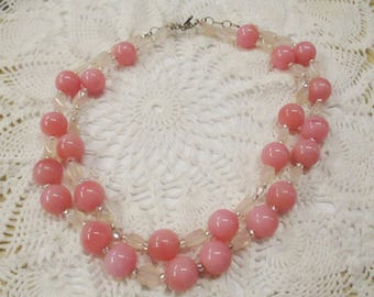 Pretty in Pink 2 Strand Necklace & Earring Set